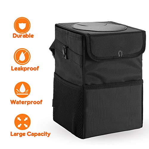 SANXIA Upgraded Car Trash Can with Lid and 3 Storage Pockets, 100% Leak-Proof Car Organizer, Waterproof Car Garbage Can, Multipurpose Trash Bin for Car -Auto Car Trash Bag Black 2.4 Gallons