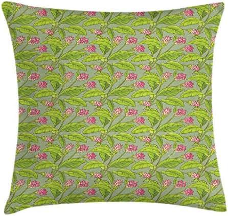 NBTJZT Botanical Throw Pillow Cushion Cover, Floral Pattern Cartoonish Pretty Turmeric Flower Blossom,Pillowcase 18X18 Inch, Pistachio Green Apples Green Pink
