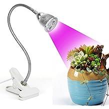 Led grow light, Desk Clip Plant Grow Lamp 5W with 360° Flexible Gooseneck for Indoor Office Home Garden Greenhouse Plants Growing Lighting