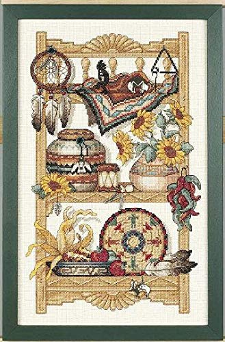 Zamtac Lovely Counted Cross Stitch Kit Southwest Charm Feather Pots Sunflower Still Life dim 72306 - (Cross Stitch Fabric CT Number: 16CT unprint Canvas) Charm Counted Cross Stitch