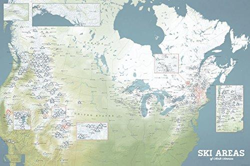 North America Ski Resorts Map 24x36 Poster (Natural - Map Heavenly