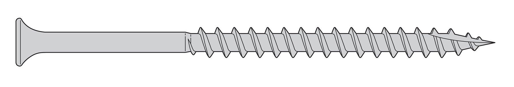 7 x 2-1/4'' Deck Screws - 1,000 Pieces - Trim Head, Star Drive, 305 Stainless Steel, Type 17 Auger Point