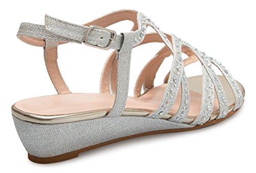Cutout Ankle Comfortable Low Sandals Strappy Women's Silver Crisscross Buckle OLIVIA Wedge Rhinestone Kitten Strap Heel K Slingback qIwOXX