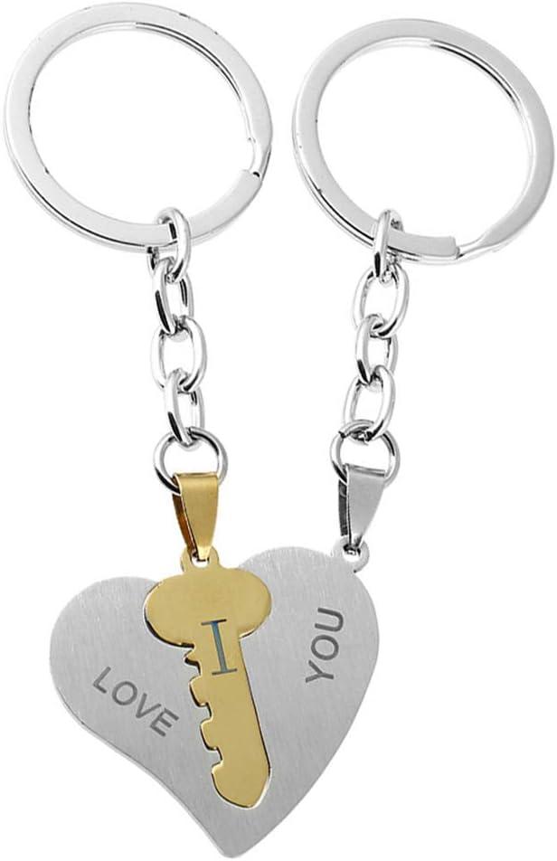 LUOEM Llaveros de Pareja para él y su corazón Llavero para Parejas Te Amo Regalo de Pareja Llavero Día de San Valentín Amor Regalos para Novio y Novia (Llave incrustada)