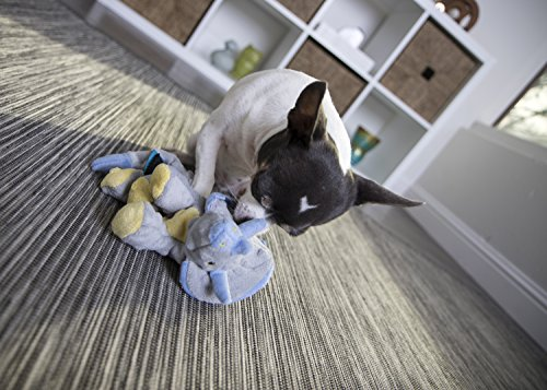 goDog Dinos Triceratops With Chew Guard Technology Tough Plush Dog Toy, Grey, Small