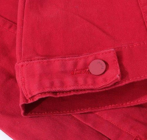 Risvolto Uomo Jeans Sottile Rosso Unita Jacket Manica Classico Tinta Yiiquan Lunga Vintage Di Giacca Swt8Z8