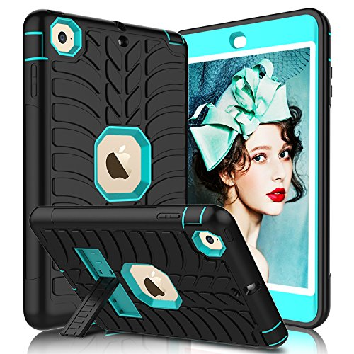 iPad Mini Case, iPad Mini 2 Case, iPad Mini 3 Case, iPad Mini Retina Case, Elegant Choise Heavy Duty Three Layer Armor Defender Protective Case Cover with Kickstand for iPad Mini 1/2/3 (Blue+Black)