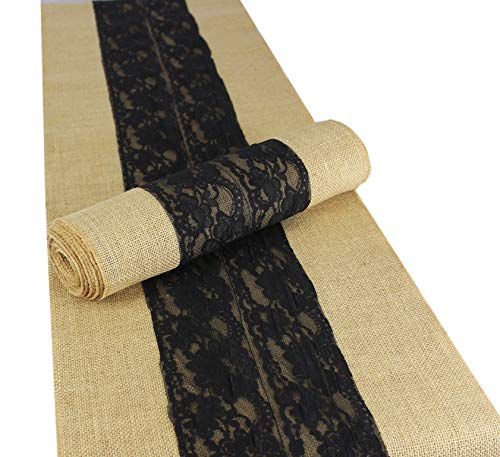 Cotton Craft - 2 Pack - Jute Burlap with Lace Table Runner- 12x108 - Natural/Black - Perfect Accessory to Dress up Your Dinner Table - Spot Clean Only ()