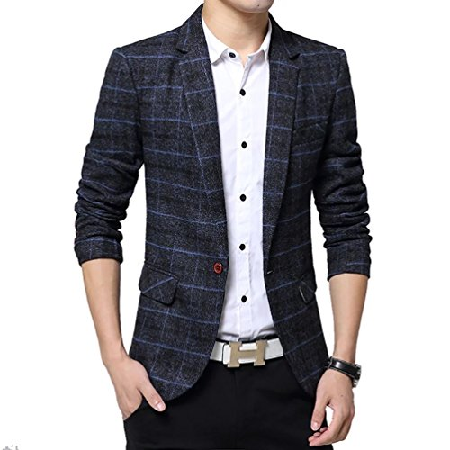 SITENG Men's Tweed Plaid Blazer Jacket Casual Business Long Sleeve One Button Slim Fit Suits Single-Breast Sport Coat Outwear(Navy US M) (Cotton Plaid Blazer)