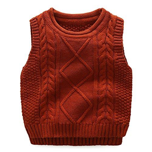 Anbaby Little Boy's Knit Sweater Vest Kids Round Neck Students Pullover Dark Orange 140 Round Neck Vest