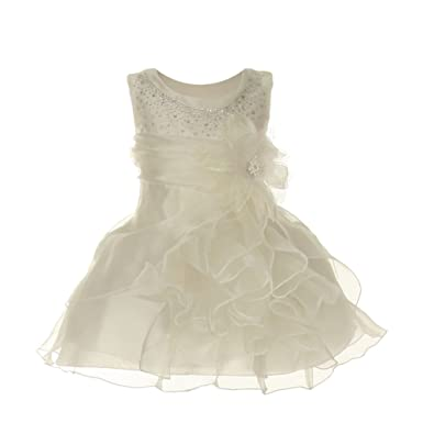 520c8f5a267 Cinderella Couture Baby Girls Ivory Crystal Organza Cascade Ruffle Dress 6M