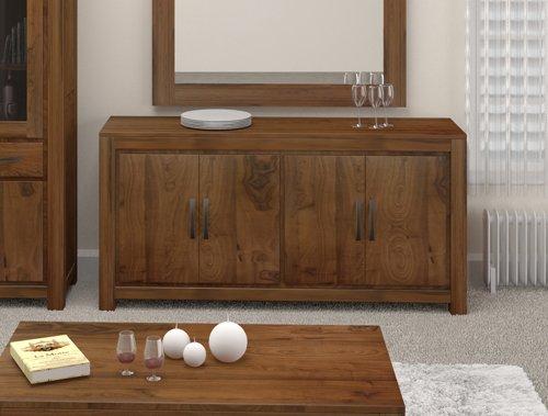 Grand furniture Breite Walnuss Holz, low Große Anrichte mit 4 Türen
