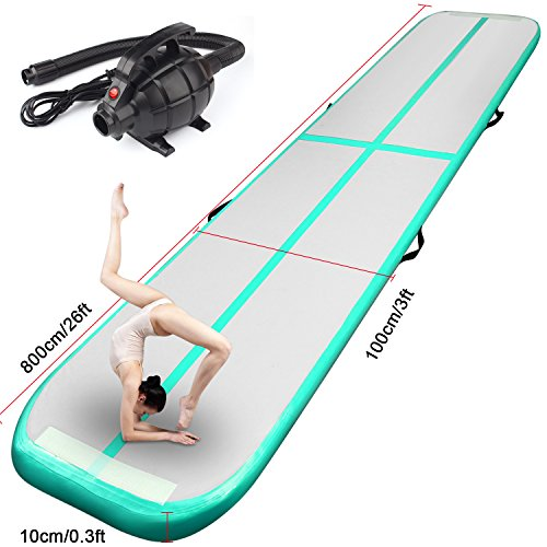 FBSPORT Inflatable Gymnastics AirTrack Tumbling Mat Air Track Floor Mats with Electric Air Pump for Home Use/Training/Cheerleading/Beach/Park and Water Length 9.8foot-(300cm) (Light Green, 26)