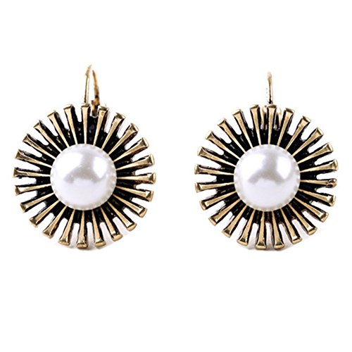 Simulated Pearl Charm - XCFS Antique Gold Plated Vintage Sunflower &Simulated Pearl Charm Women Hook Hoop Earrings