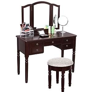 SONGMICS Vanity Set Tri-folding Mirror Make-up Dressing Table Cushioned Stool 5 Drawers Brown URDT108Z