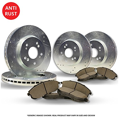 (Front+Rear Kit)(High-End) 4 Silver Coated Cross-Drilled Disc Brake Rotors + 8 Semi-Metallic Pads(Fits:- 5lug)