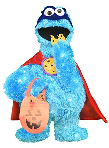 ProductWorks 24-Inch Pre-Lit Sesame Street Cookie Monster Halloween Yard Decoration -