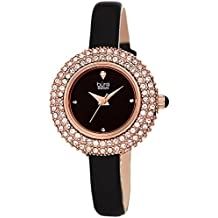 Burgi Women's BUR195 Swarovski Crystal & Diamond Accented Watch - Comfortable Leather Strap - Comes in A Gift Box (Rose Gold & Black)