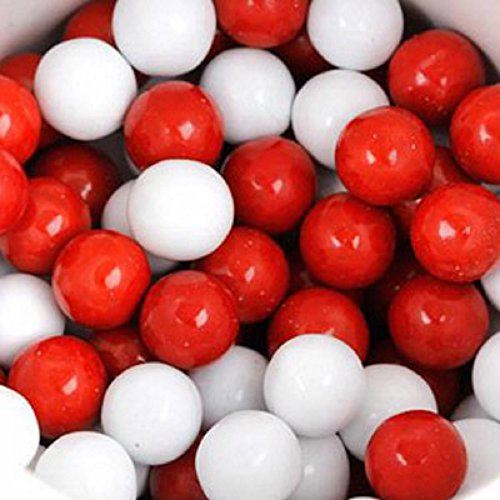 Mini Chocolate Balls (Red & White Sixlets Mini Milk Chocolate Balls 1LB Bag)