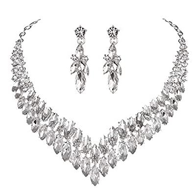 Youifr Bridal Wedding Rhinestone Crystal Necklace and Earrings Jewelry Sets for Brides