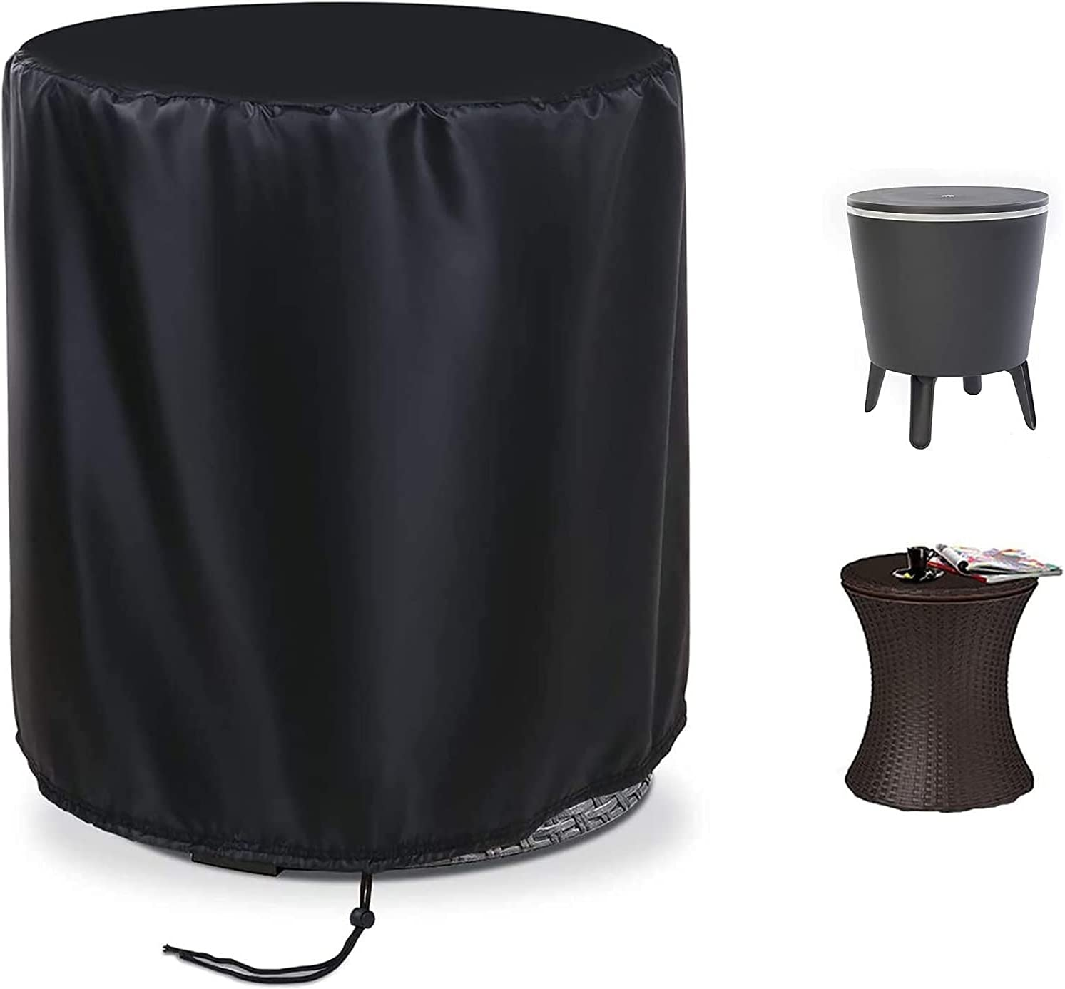 Patio Cooler Bar Table Cover Design for Keter 7.5-Gal Cool Bar Table, Outdoor Patio Round Beer Cooler Table Cover, Waterproof Barrel Cool Bar Table Cover, 21