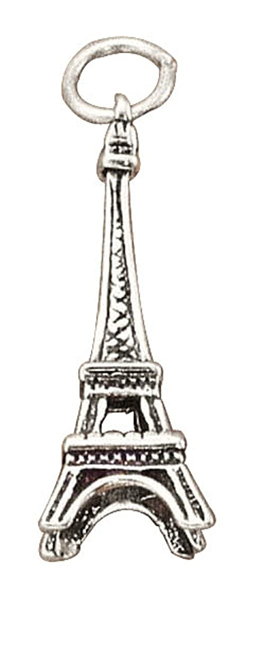 Sterling Silver Girls .8mm Box Chain 3D Eiffel Tower Pendant Necklace