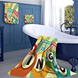 WolfgangDecor Vintage Customized bath towel combination Bingo Game with Ball and Cards Pop Art Stylized Lottery Hobby Celebration Theme Fun Hand towels set Multicolor