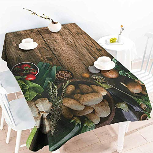 Fashions Rectangular Table Cloth,Harvest Various Vegetables on Rustic Wooden Table Onions Potatoes Zucchini Cherry Tomatoes,Resistant/Spill-Proof/Waterproof Table Cover,W52x70L, Brown Green