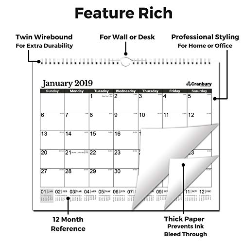"""Large Wall Calendar 2018-2019 Monthly: Hanging Calendar with Planner Stickers for Family and Office, 15 Months 15x12"""" (Black), USE Now - October 2018 to December 2019, by Cranbury by Cranbury (Image #2)'"""