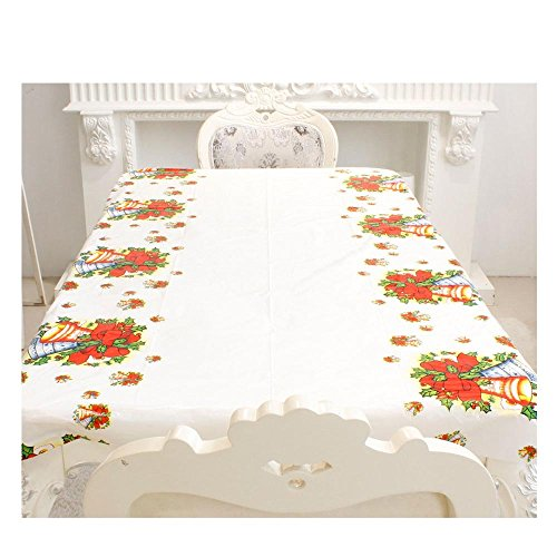 LiPing 110×180CM(43.3×70.8in)Merry Christmas Rectangular Printed PVC Rustic Atmosphere Waterproof Disposable Plastic Table Cloth Square Table Cover (Red) - Square Camera Mini Security