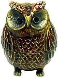 Cute Brown Owl Bejeweled Trinket Box