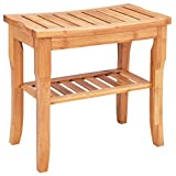 Moon Daughter Bamboo Shower Seat Bench Bathroom Comfort Spa Bath Organizer Stool with Storage Shelf