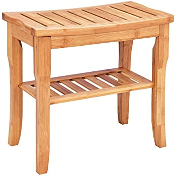 Amazon.com: Giantex Bamboo Shower Seat Bench Bathroom Spa Bath ...