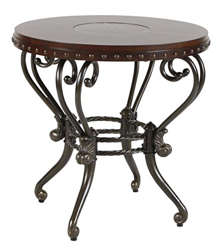 (Homelegance Jenkins Metal and Wood Round End Table, Cherry )