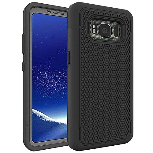 Galaxy S8 Active Case, AOKER [Shock Absorption] [Slim Fit] [Scratch Resistant] Hybrid Dual Layer Armor Defender Anti-Drop Rugged Protective Case Cover for Samsung Galaxy S8 Active (Black)
