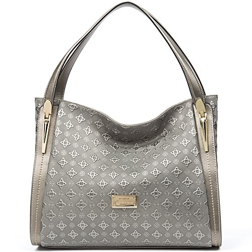 Designers Handbags (ANA LUBLIN Women Ladies Tote Bag Dark Sliver Genuine Leather Handbag Shoulder Bag Top Handle Purse)