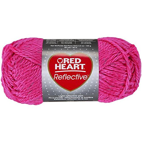 Coats Yarn Red Heart Reflective Yarn, Neon Pink