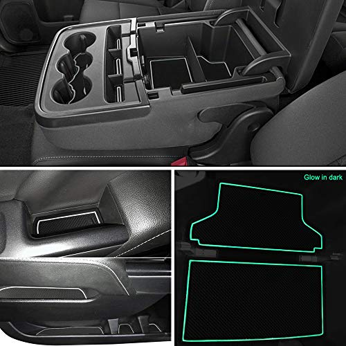 Auovo Anti-Dust Custom Fit Cup and Center Console Liner Accessories for 2018 Chevrolet Silverado 1500 LT Double Cab Interior Door Compartment Liner Mats Inserts(Pack of 24) (White)