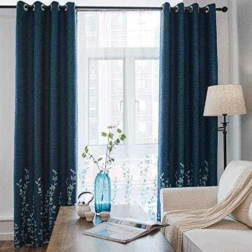 Melodieux Flower Embroidery Faux Linen Window Blackout Grommet Top Curtains for Bedroom, 52 by 96 Inch, Navy/Blue (1 -