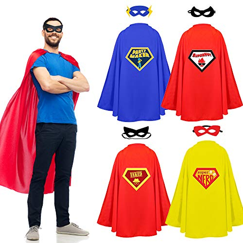 Halloween Masks Party Supplies (STOIE'S Adult Superhero Capes and Masks, 8-Piece Set - Party Supplies, Halloween and Themed Events - Versatile Group Costume, Comfortable Design)