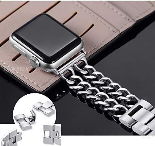 RTYW ユニバーサル時計手作り時計バンドステンレススチールブレスレットストラップ豪華バンド40ミリメートル44ミリメートル38ミリメートル42ミリメートルローズゴールド (Band Color : Silver, Band Width : For 38(40)mm size)