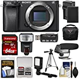 Sony Alpha A6300 4K Wi-Fi Digital Camera Body (Black) 64GB Card + Case + Flash + LED Video Light + Mic + Battery & Charger + Tripod + Kit
