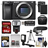 Sony Alpha A6300 4K Wi-Fi Digital Camera Body (Black) with 64GB Card + Case + Flash + LED Video Light + Mic + Battery & Charger + Tripod + Kit