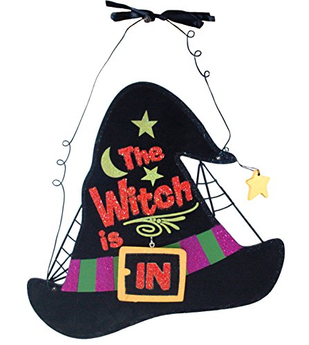 [The Witch is In & Out Glitter Hanging Wall Sign] (Hocus Pocus Halloween Costumes)