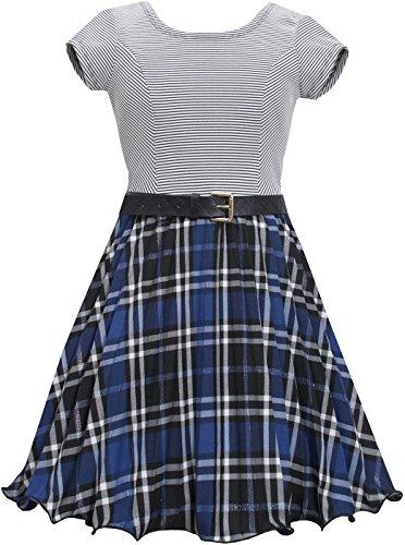 Bonnie Jean Little Girls Blue Metallic Plaid Crystal Pleat Belted Dress (6x, Royal)