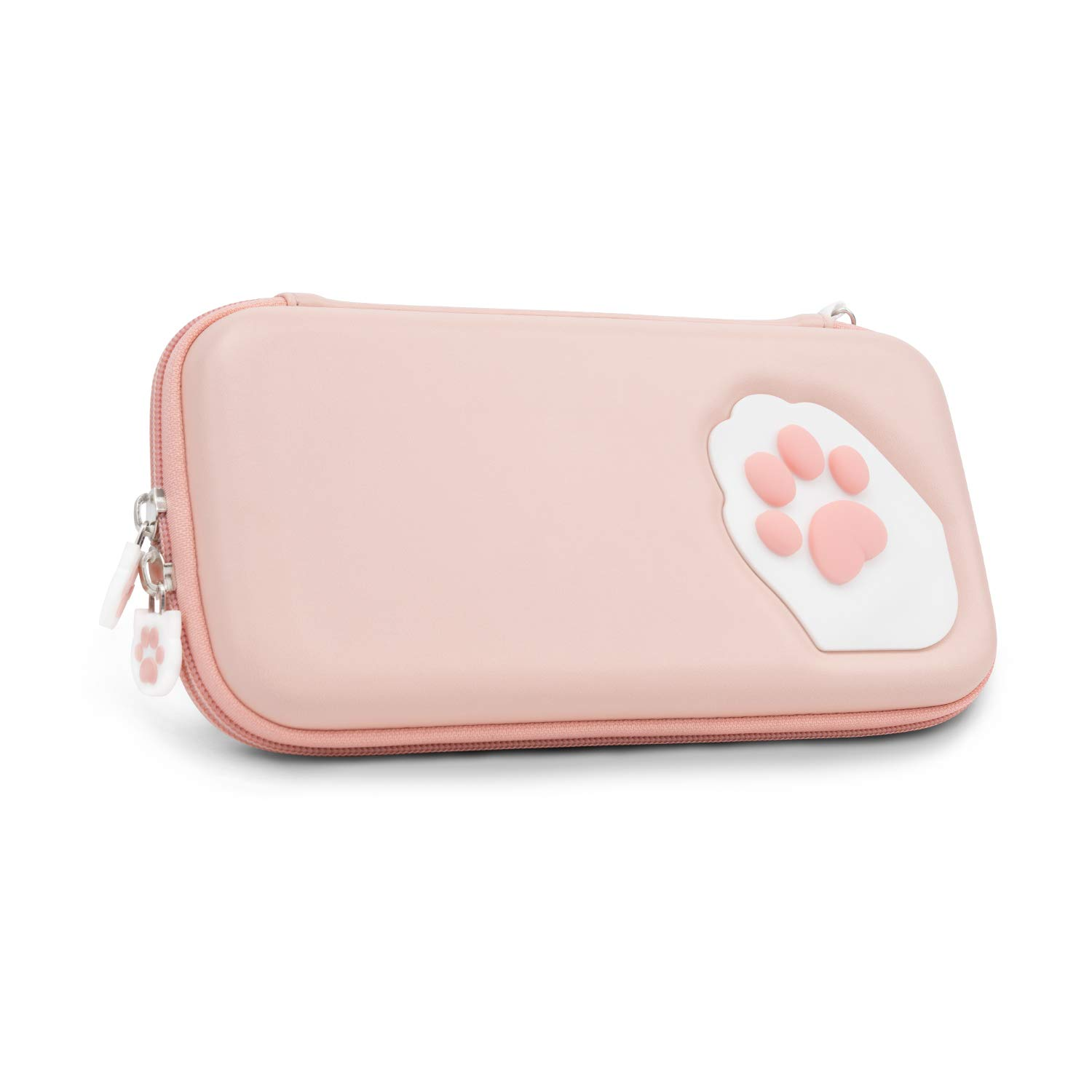 Geekshare Cute Cat Claw Case Compatible with Nintendo Switch Lite- Portable Hardshell Slim Travel Carrying Case fit Switch Lite & Game Accessories - A Removable Wrist Strap (Pink)