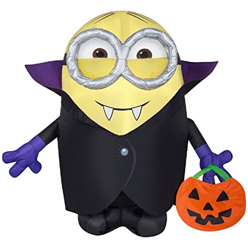 Gemmy Airblown Inflatable Minion Dressed as Dracula Holding a Pumpkin Tote - Indoor Outdoor Holiday Decoration, 3.5-foot Tall ()