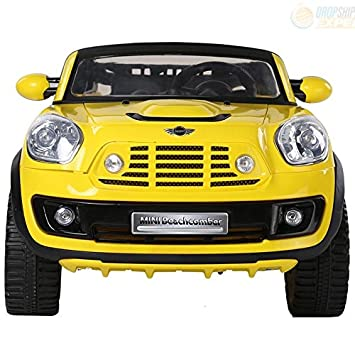 electric battery ride on car for kids mini cooper beachcomber model jj298 yellow