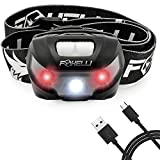 headlights for kids - Foxelli USB Rechargeable Headlamp Flashlight - Up to 30 Hours of Constant Light on a Single Charge, Super Bright White Led + Red Light, Compact, Easy to Use, Best Headlight for Camping, Running, Kids