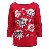 Womens Christmas Cat Snowflake Print Hooded Sweatshirt Coat Hoodies Pullover Sweatshirt